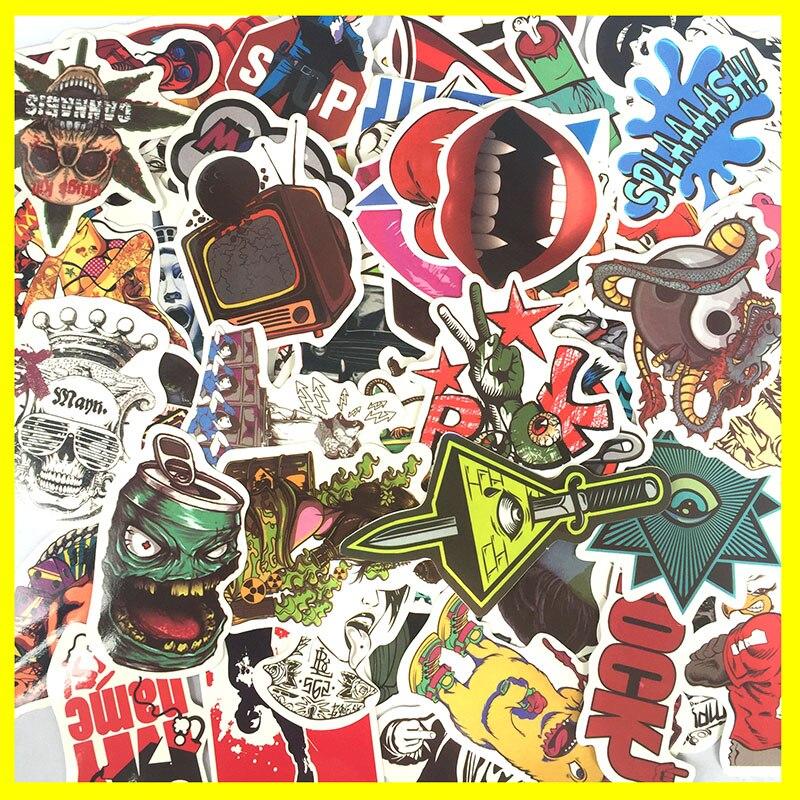 50 random mixed Sticker for Snowboard Skateboard Laptop Luggage Car Fridge Phone DIY toy Styling Vinyl