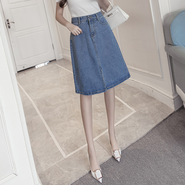 581116eb202c9 New fashion Korean women s slim swee denim skirt high waist skirt  comfortable a-line denim skirt girls plus size solid hip skirt
