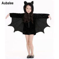 New Child Animal Cosplay Cute Bat Costume Kids Halloween Costumes For Girls Black Zipper Jumpsuit Connect