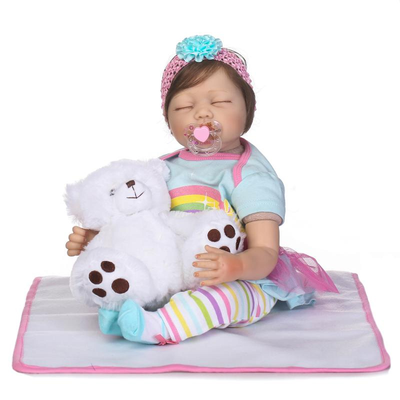 New 55cm Realistic Doll Reborn Babies Handmade Baby Silicone Dolls Girl Gift Toys For Kids 22 Soft Dolls with Pink Dress Set 2017 new handmade doll clothing chinese ancient costume evening dress for ob27 bjd 1 6 doll body girl toys dolls accessories