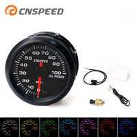 """Darmowa wysyłka CNSPEED 2 """"52mm Auto wskaźnik ciśnienia oleju 0-100Psi 7 Cplors światło LED z czujnik ciśnienia oleju miernik ciśnienia oleju"""