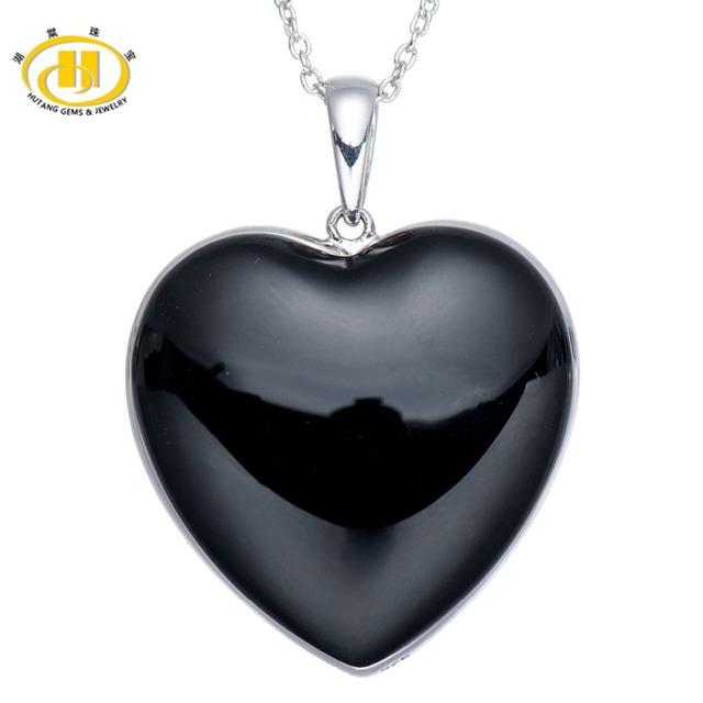 Hutang Forma Do Coração Black & White Onyx Duplo Lado Sólido 925 Sterling Silver Pendant Necklace para Mulheres Fine Jewelry