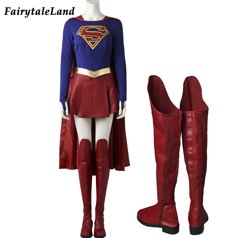 Supergirl Costume Carnival Cosplay Party Fancy Costumes TV Show Supergirl Cosplay Suit Superhero Costume Jumpsuit Custom Made