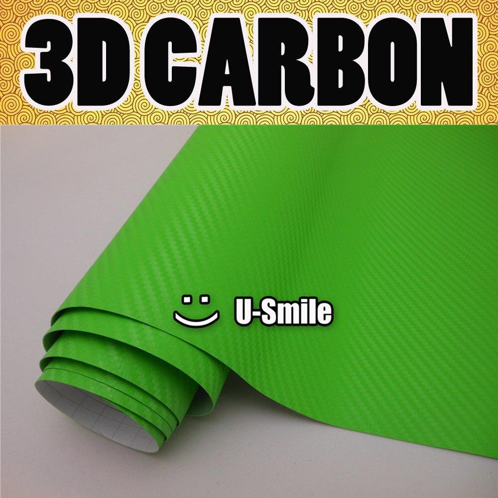 3D LIME GREEN Carbon Fiber Texture Vinyl Wrap Sticker Decal Film Sheet Air Release Car Wrapping Size:1.52X30M/Roll 40cmx200cm car styling 3d 3m carbon fiber sheet wrap film vinyl car stickers and decals motorcycle automobiles car accessories