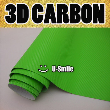 3D LIME GREEN Carbon Fiber Texture Vinyl Wrap Sticker Decal Film Sheet Air Release Car Wrapping Size:1.52X30M/Roll