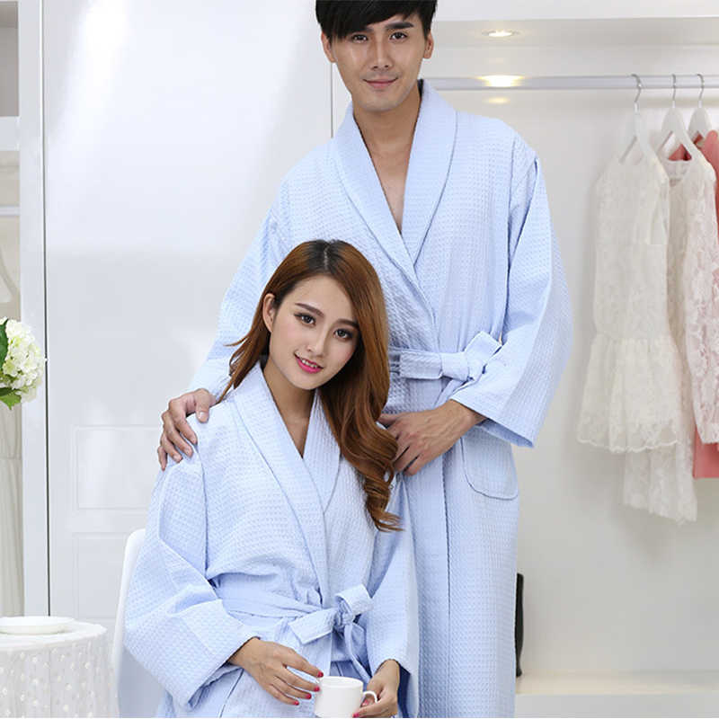 13770c3161 ... 100% Cotton Blue Couple Bathrobe Long Sleeve Thick Quick Dry Adult  Towels Bathrobe Home Hotel ...