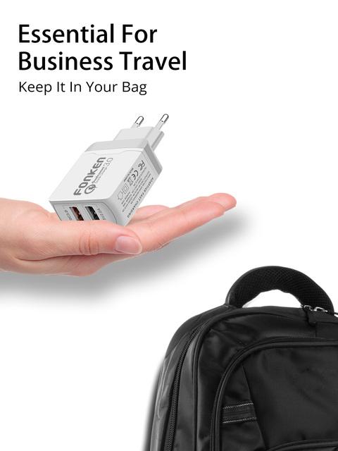 FONKEN szybkie ładowanie 3 0 2 Port 28W QC3 0 podwójna ładowarka USB przenośny podróży adapter ścienny dla Xiaomi telefon komórkowy Samsung ładowarka do telefonu tanie i dobre opinie 3 6 V-6 5 V 3A RoHS Fast Charger Uniwersalny Huawei Lenovo MEIZU Sony Nokia Qualcomm szybkie ładowanie 2 0 Qualcomm szybkie ładowanie 3 0
