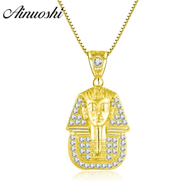 AINUOSHI 10K Solid Yellow Gold Pendant Shining Egyptian Queen Pendant SONA Simulated Diamond Gold Jewelry 4.9g Separate Pendant anniyo egyptian queen nefertiti pendant