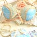 Envío gratis 2017 new luxury azul satén de tres breasted mujeres de la ropa interior conjunto AB taza de ajuste más el lado atractivo empuja hacia arriba el sujetador conjuntos