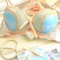 Free shipping 2017 new luxury blue satin three breasted women underwear set AB cup of adjustment plus side sexy push up bra sets