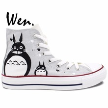 Wen Anime Hand Painetd Shoes Design Custom My Neighbor Totoro Man Woman's High Top Grey Canvas Sneakers Christmas Gifts