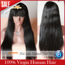 Free Shipping Virgin Brazilian 100% Real Human Hair Silky Straight Full Lace Wig / Lace Front Wig 130%-180% Density In Stock