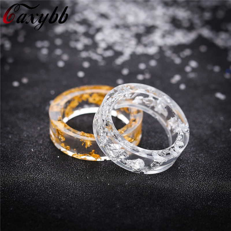DIY Handmade Secret New Dried flowers Plants Inside Resin Ring Novelty Foil Rings for Women Anniversary Party Jewelry
