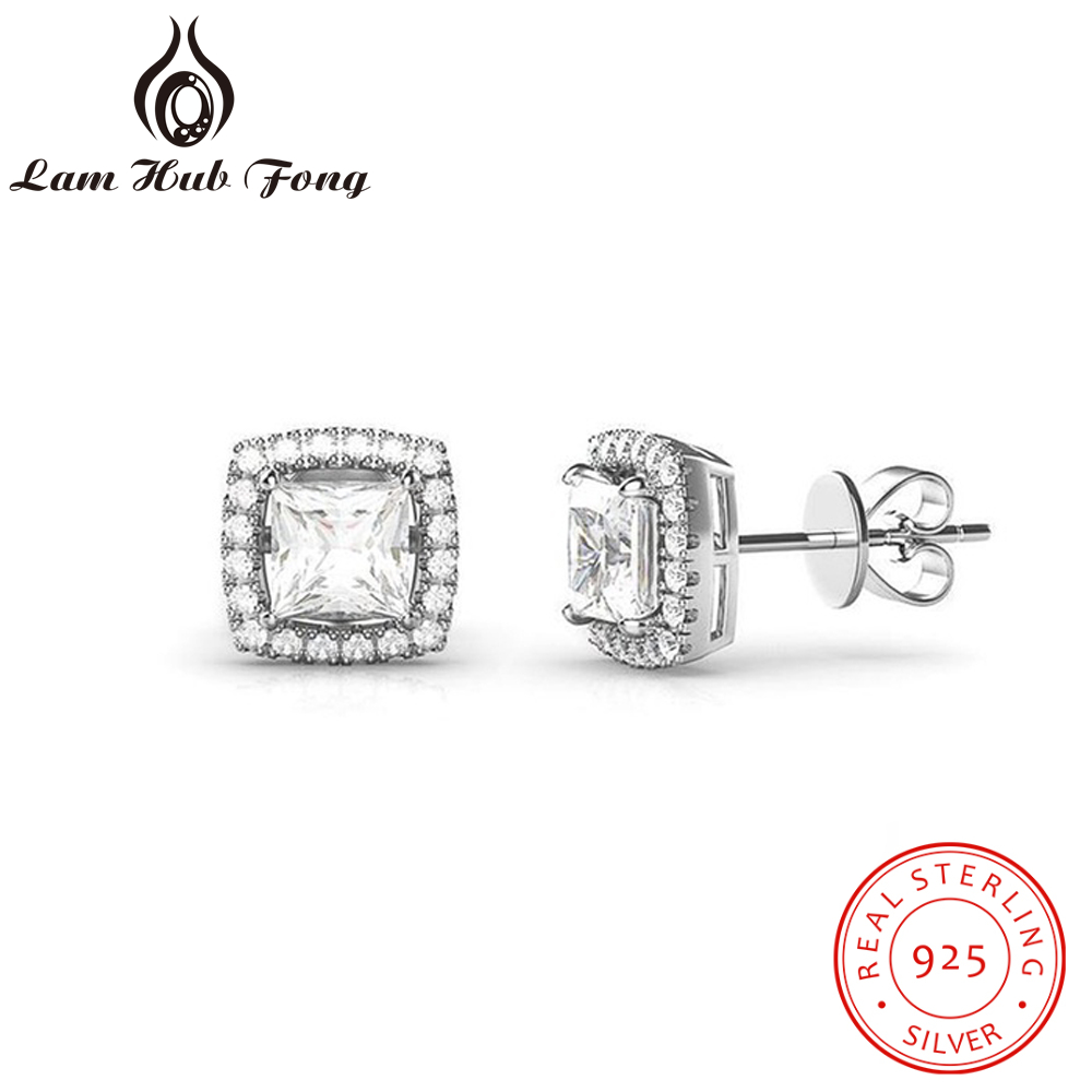 Classic 6mm Zirconia Square Earrings For Women Real 925 Sterling Silver Stud Earrings Elegant Wedding Jewelry (Lam Hub Fong)