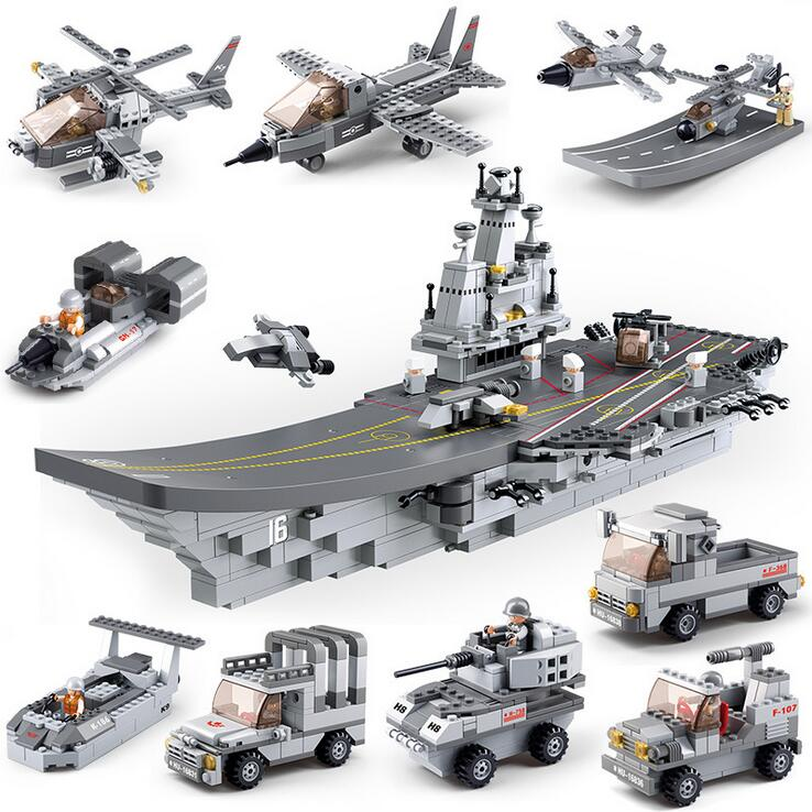 9pcs/lot Military Star Wars Spaceship Building Blocks Sets Brick Boy Toys Airplane Aircraft Carrier Compatible with 009 military star wars spaceship aircraft carrier helicopter tank war diy building blocks sets educational kids toys gifts legolieds