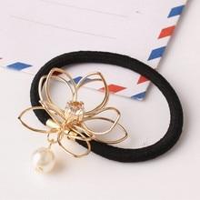 New Korean Women Hair Accessories Rhinestone Tiara Rope Simulated Pearl Hollow Flower Elastic Headband Rubber Bands