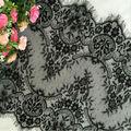 3 Metros/lote Pestañas del ajuste del cordón de la flor negro blanco tela de encaje hecho a mano ropa de bricolaje accesorios de 40 cm de ancho RS828