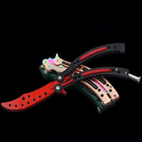 CS GO Karambit Folding Knife Butterfly Fade Colorful Color Game Dull Blade No Edge Tool Practice