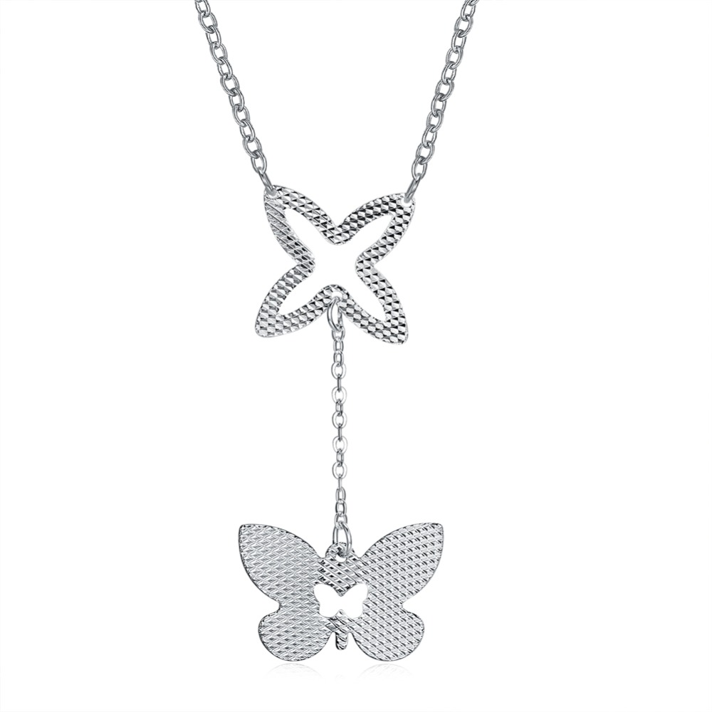 butterfly Pattern Shape 925 silver Sterling Accessorise Necklaces & Pendants For Women Classic Jewelry Romantic Gift (NE102309)