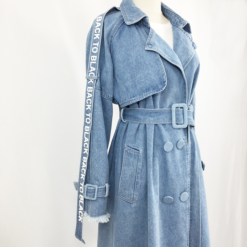 Women blue denim X-long belted   trench   ladies sashes letter fringe sleeve washing long coats female Detective pocket split duster