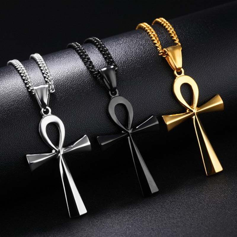 Religion Egyptian Ankh Crucifix Necklaces Pendants Stainless Steel Symbol of Life Cross Necklaces Jewelry Gifts XLCT012