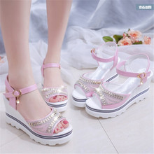 summer new slope with fish mouth shoes Roman sandals female sponge cake thick bottom casual women's shoes high heel sandals sandals female summer with wild shoes 2017 new korean version of the slope with high heels thick bottom fish mouth word buckle s