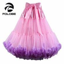 FOLOBE Pink&Purple Tulle Skirt Vintage Tutu Skirts Womens Party Prom Underskirt Lolita Ballet faldas de tull Mujer Saias Jupe