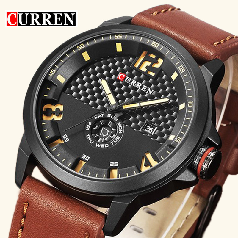 CURREN Luxury Brand Date Leather Casual Watch Men Sports Watches Quartz Military Wrist Watch Male Clock Men Relogio Masculino 2017 luxury brand binger date genuine steel strap waterproof casual quartz watches men sports wrist watch male luminous clock
