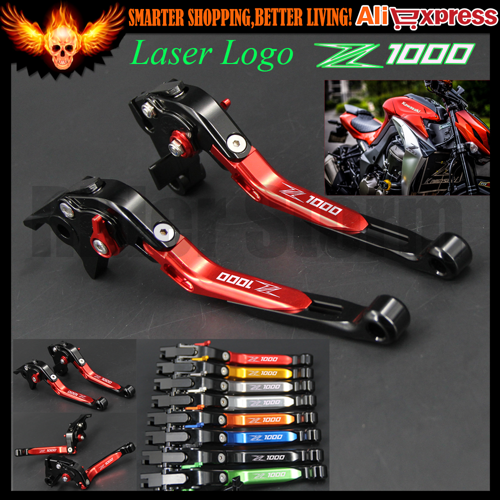 For Kawasaki Z1000 2007-2016 2008 2009 2010 2011 2012 2013 2014 2015 CNC Adjustable Motorcycle Brake Clutch Levers Folding Red 8 colors universal for kawasaki ninja 250 2008 2009 2010 2011 2012 motocross clutch brake master cylinder reservoir levers cnc