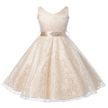 Girl Dress Kids Wedding Bridesmaid Children Girs Dresses Summer 2016 Evening Party Princess Costume Lace Teenage Girls Clothes