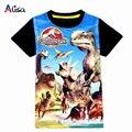 3-9ages Mundo Jurássico dinossauro crianças meninos t shirt do verão do bebê crianças meninos tops t camisas de t para crianças meninos roupas vestuário