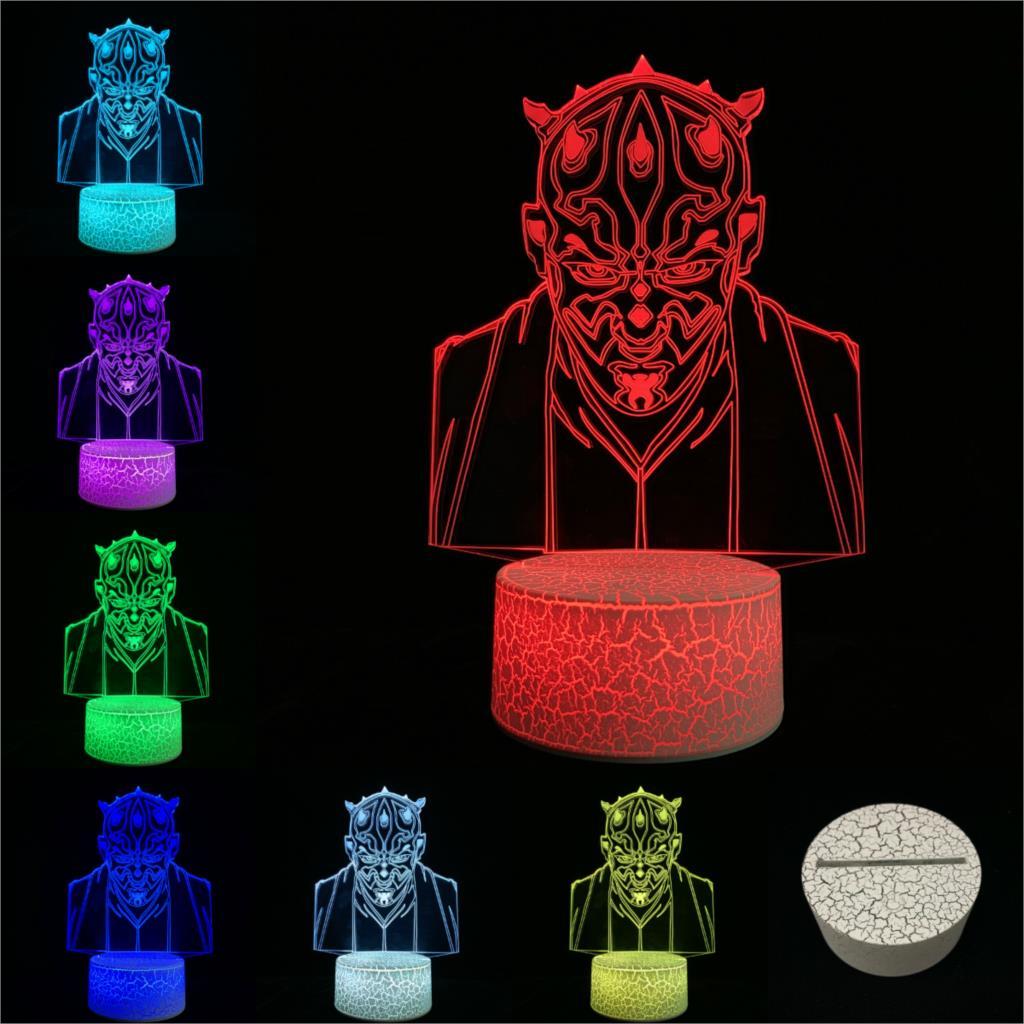 Işıklar ve Aydınlatma'ten LED Gece Lambaları'de Karikatür Illusion gece lambası şövalye Darth Maul 3D lamba LED USB Mood renkli dokunmatik uzaktan RGB değişim masa masa Dathomir