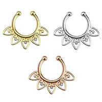 1pcs 3 Color Fake Septum Nose Rings And Studs Medical Titanium Nose Fake Piercing Rings With