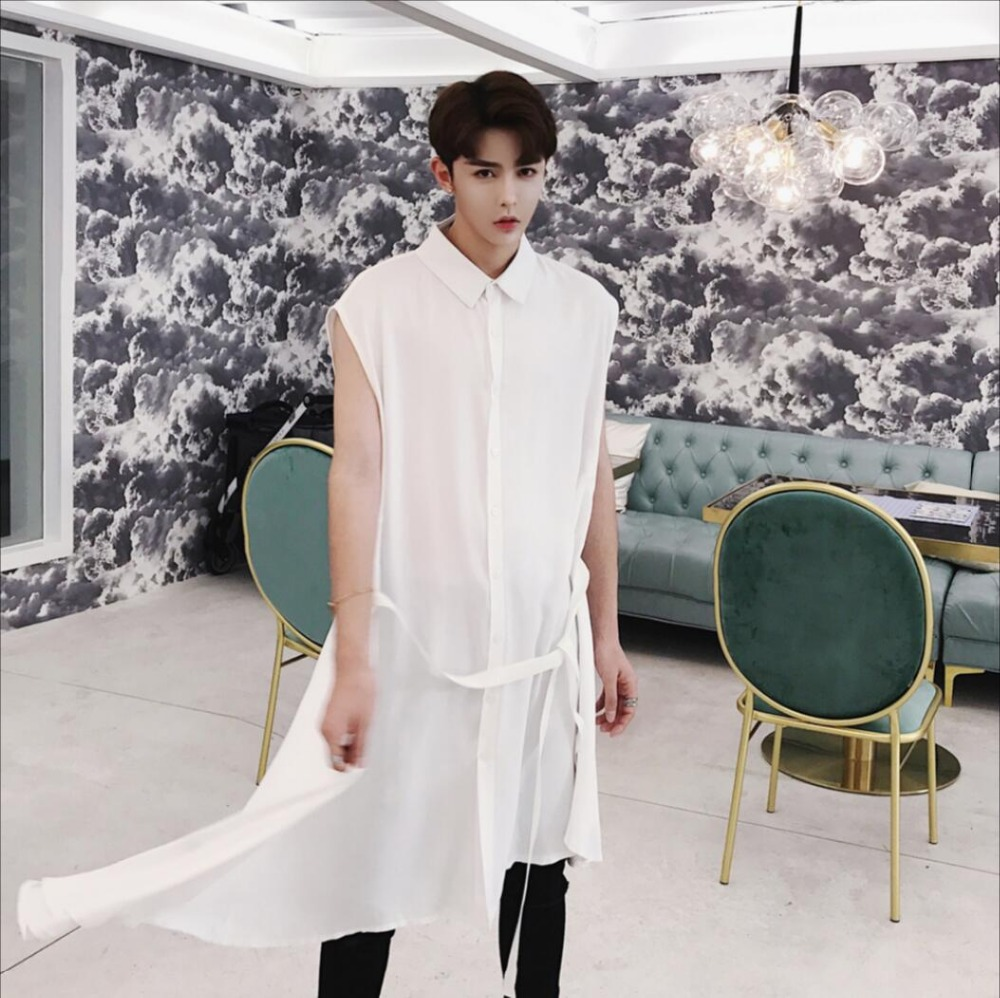 2019 Spring New men long section sleeveless shirt tide brand asymmetrical design hairstylist nightclub DJ singer costumes