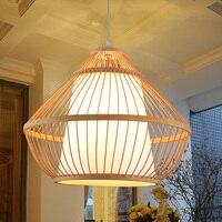 Китайский Ретро Бамбук Подвесной Светильник клетка Nordic Отель Club кафе ротанга Bamboo лампы подвесной светильник освещения ZA925639