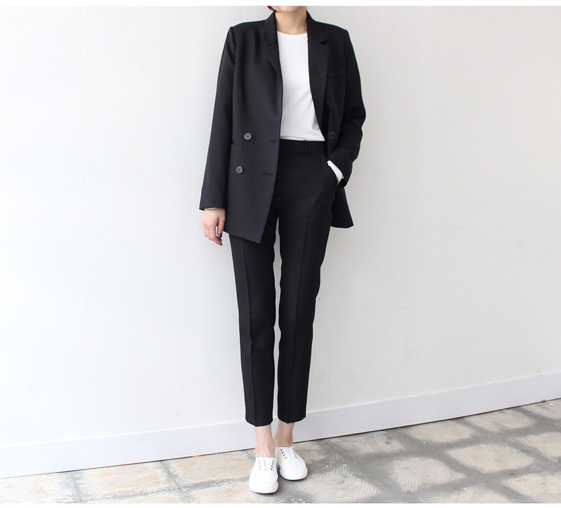 New Autumn Suit 2019 Double-Row Button Bottom Pants Suit Notched Button Double Breasted Solid Long Black Jackets Coat Women