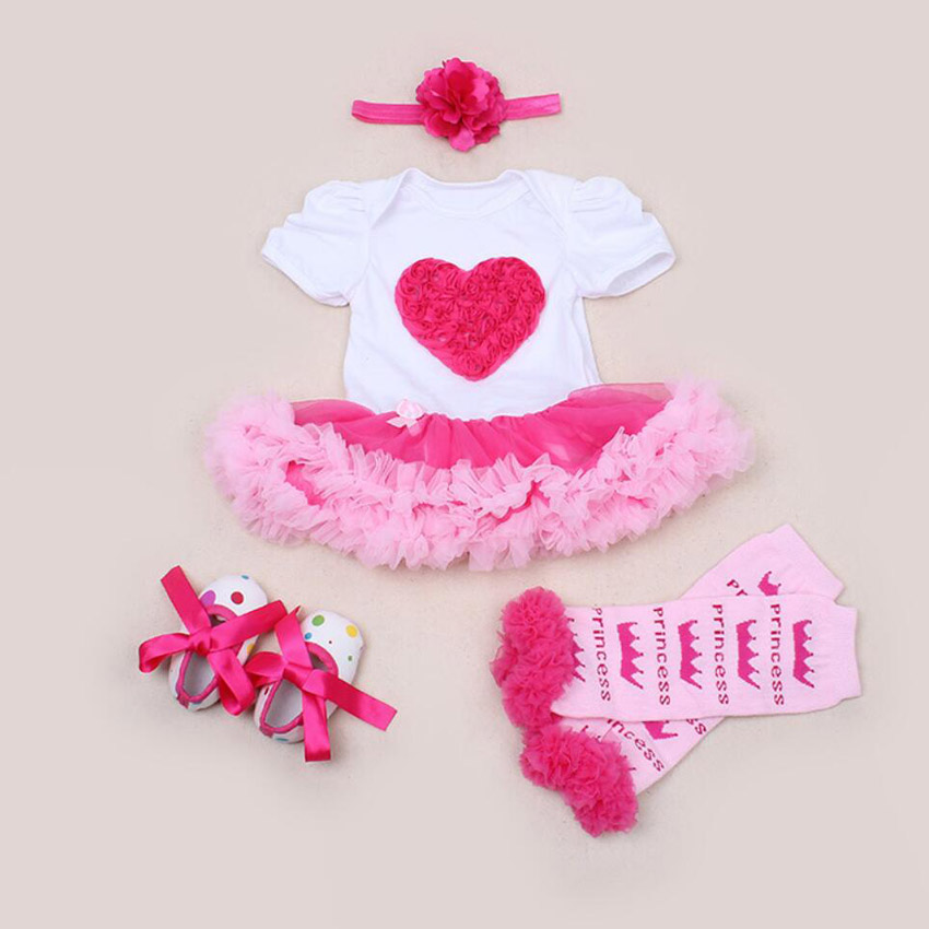 4PCs per Set Hot Pink Love Baby Girls Party Dress Jumpersuit Headband Shoes Leggins for 0-24Months
