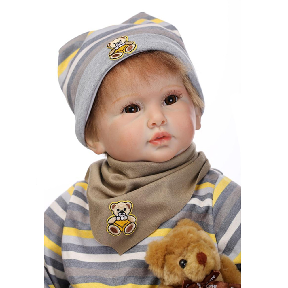 Cute European Fashion Silicone Reborn Dolls with Clothes,50 CM Lifelike Baby Reborn Doll Christmas Gift for Kid/Friends short curl hair lifelike reborn toddler dolls with 20inch baby doll clothes hot welcome lifelike baby dolls for children as gift