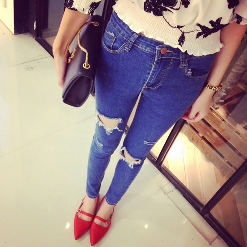 2017 High Waist plus Size Jeans Women Skinny Pencil Pants Denim Ripped Boyfriend Jeans With Holes For Woman high street trousers фильтр для воды новая вода expert osmos mo520