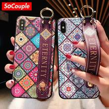 SoCouple Wrist Strap Soft TPU Case For iphone 7 8 6 6s plus Case For iphone XR X Xs max Vintage Flower Pattern Phone Holder Case(China)