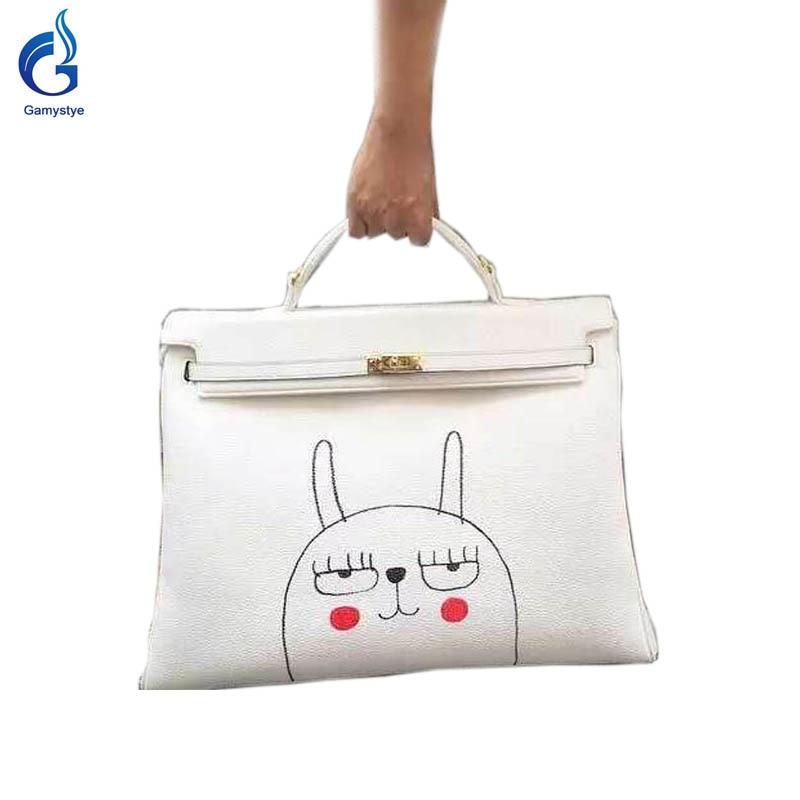 2018 Hot sale Women Genuine Leather Handbags Women Messenger Bags Hand Painted art bags Custom Design painting Rabbit totes Gift