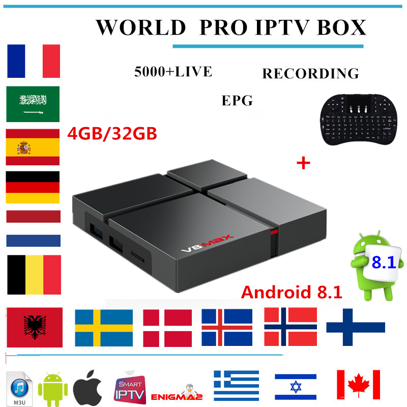 Wechip V8 MAX android tv box android 8 1 PRO IPTV subscription Europe Nordic Sweden Dutch