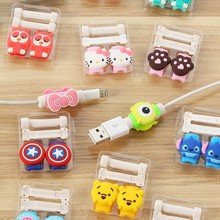 10pcs/lot Double Side Cartoon USB Cable Earphone Protector headphones line saver For phone charging line data cable protection