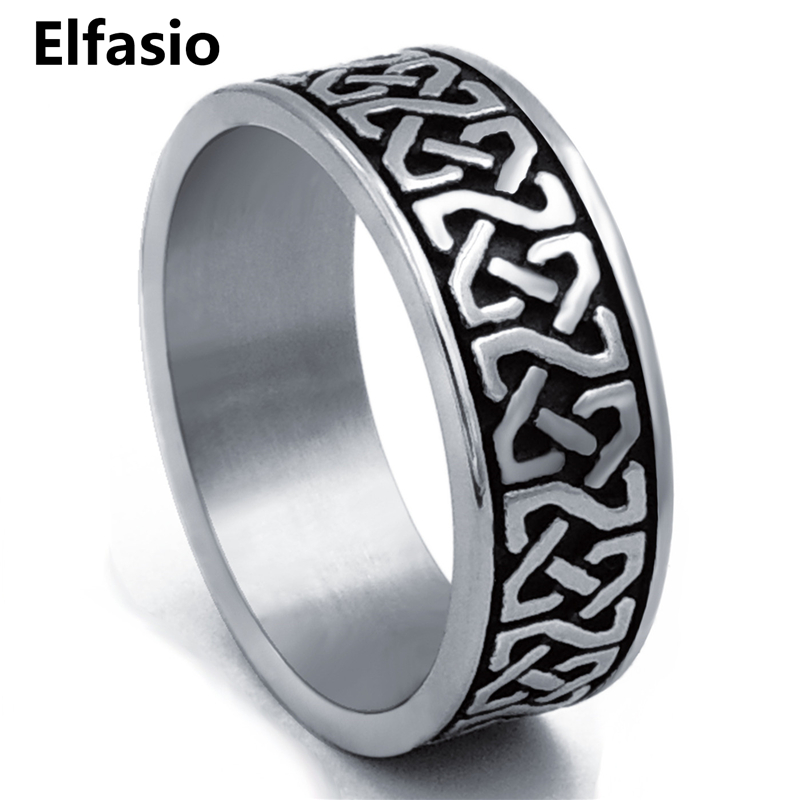 8mm Men's Boy's Stainless Steel Ring Band Celtic Knot Silver Black Biker jewelry Size 8-15 gj303 rhinestones 316l stainless steel couple s ring black silver size 9 7 2 pcs