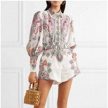 European style Fadhion print Shirts belt A-line Shorts 2piece set 2019 summer vintage puff sleeves elegant pantsuit A246