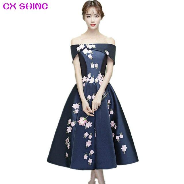 CX SHINE Custom Color!short bridesmaid dresses flowers tea length Boat Neck  wedding Party dress, Mid calf prom dress Plus Size-in Bridesmaid Dresses ...