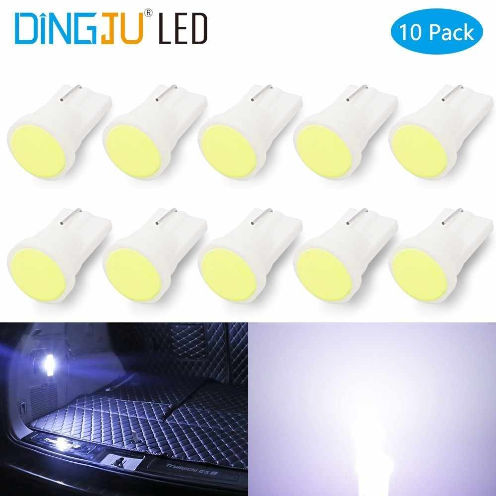 10 pcs T10 LED Lights Car Interior LED T10 COB W5W 168 Wedge Door  Instrument Side Lamp Light Bulbs White Red Blue Green Pink