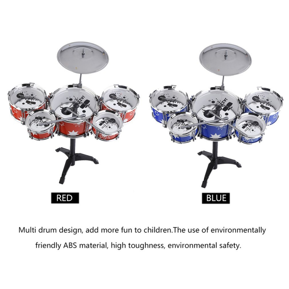 Plug Size Lightweight Mini Children Kids Practicing Drum Instrument Portable ABS Stainless Steel Drum Set With Chair ...