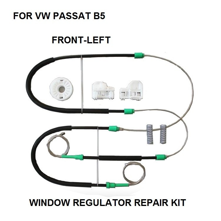 FOR VOLKSWAGEN VW PASSAT B5 WINDOW REGULATOR REPAIR KIT CABLES AND CLIPS FRONT LEFT 1996 To 2005 3B1837461