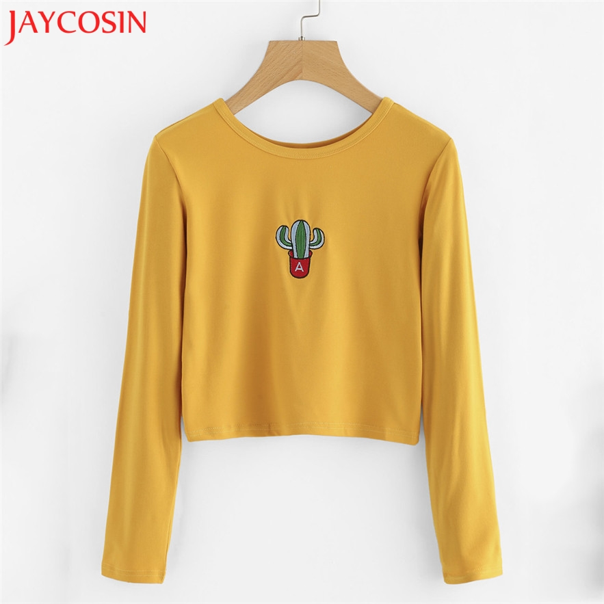 JAYCOSIN women hoodies sweatshirts 2017 Fashions Printing Pineapples Pullover Jumpers Casual S-XL Crop Tops yellow #30